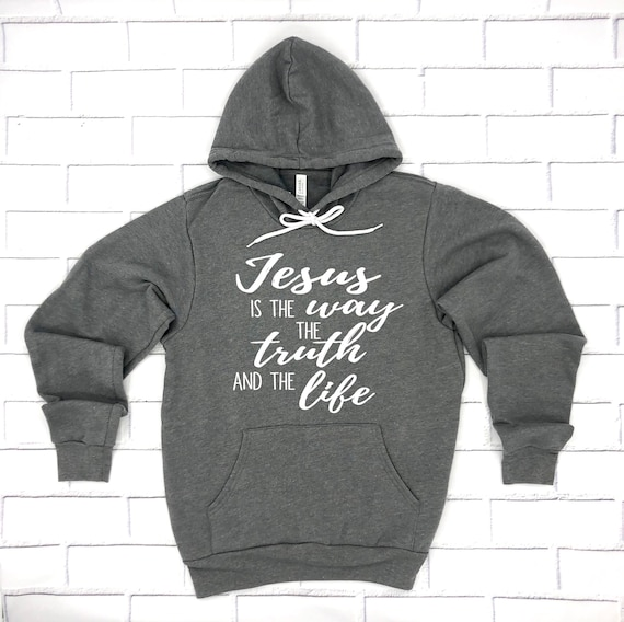 Christ The Way The Life John 14:6 Hooded Graphic Hoodie for Men The Truth