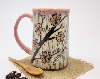Hand-Carved Porcelain Stoneware Hummingbird with Cherry Blossoms Mug