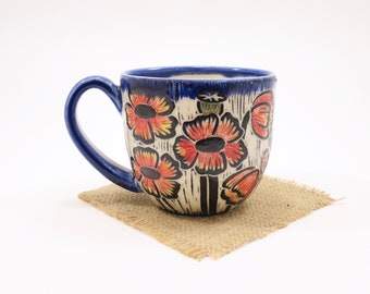 Hand-Carved Porcelain Stoneware Hand Painted Poppy Cobalt Teacup