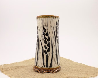 Hand Carved Porcelain Stoneware Wheat Amber Tumbler
