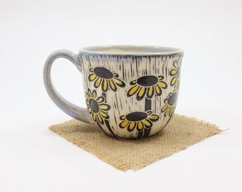 Hand-Carved Porcelain Stoneware Hand Painted Daisy Light Blue Teacup
