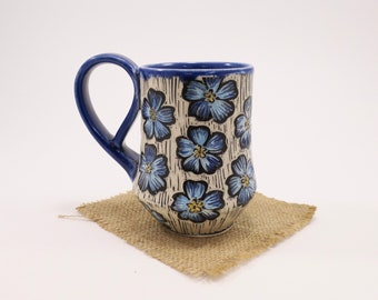 Hand-Carved Porcelain Stoneware Cobalt Forget-Me-Not Hand Painted Mug with Fancy Handle