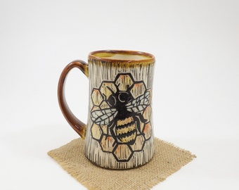 Hand-Carved Porcelain Stoneware Hand Painted Bee Amber Mug