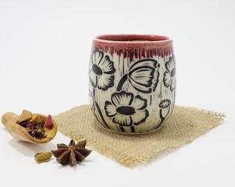 Hand-Carved Porcelain Stoneware Poppy Tumbler