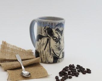 Hand-Carved Porcelain Stoneware Cow Mug