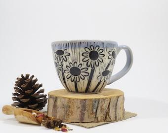 Hand-Carved Porcelain Stoneware Daisy Teacup