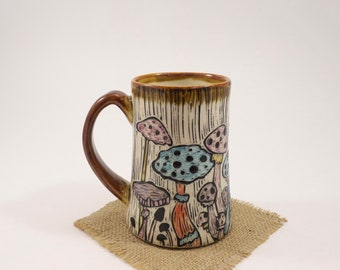 Hand-Carved Porcelain Stoneware Hand Painted Mushroom Amber Mug