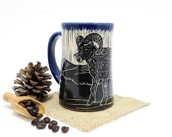 Hand-Carved Porcelain Stoneware Big Horn Sheep Mug