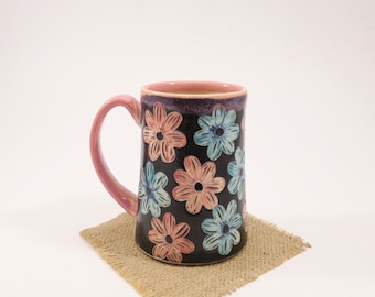 Hand-Carved Porcelain Stoneware Hand Painted Reversed Daisy Pink Mug