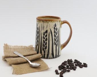 Hand-Carved Porcelain Stoneware Wheat Mug