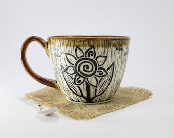 Hand-Carved Porcelain Sunflower Teacup