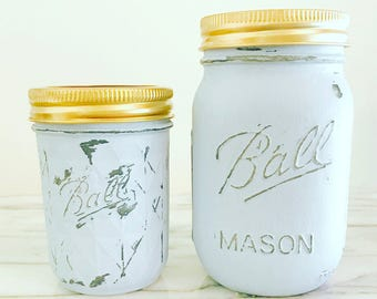 Vintage Style Hand Painted Mason Jar Soy Wax Candle 8 oz