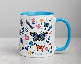 Bug Mug   Blue Color Dipped Mug   Cute Spring Butterflies and Beetles   Kawaii Cups   Tea and Coffee Cup