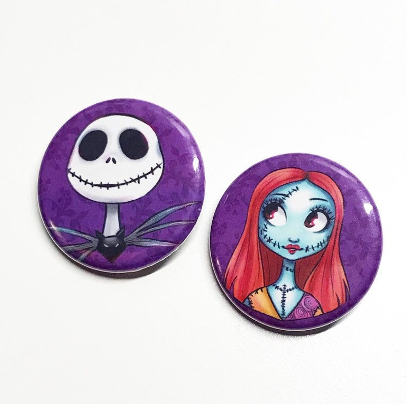Jack and Sally Buttons Nightmare Before Christmas image 0