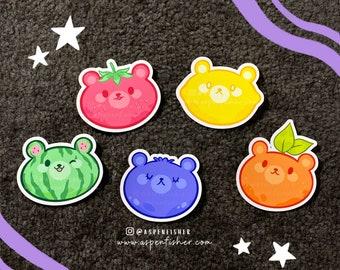 Beary Cute Fruity Friends Sticker Set   Matte Die Cut   Gifts   Bujo   Fruit   Bears   Planner   Laptop   Kawaii   iPad   Scrapbooking