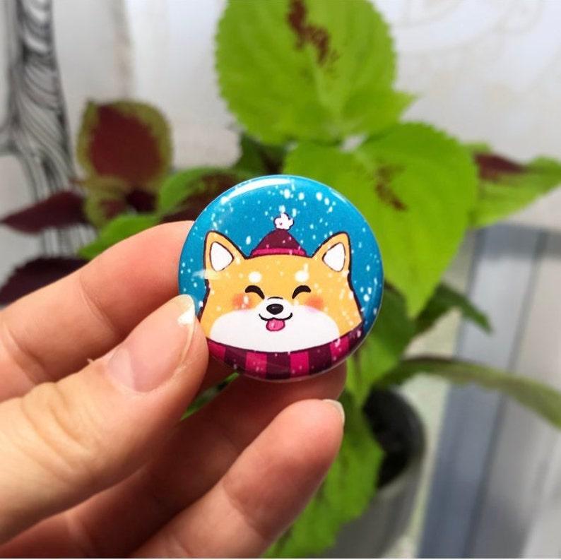 Winter Shiba Button image 0