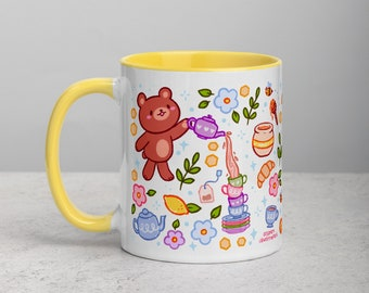 Tea and Honey Bear Mug   Yellow Color Dipped Mug   Cute Spring Tea Time Bears   Kawaii Cups   Tea and Coffee Cup