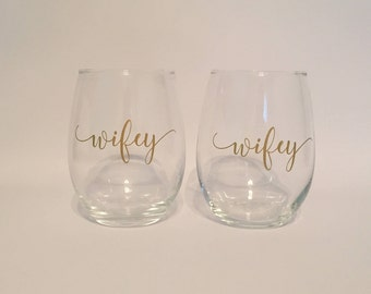 Wifey & Wifey - Stemless Wine Glasses - Engagement Gift - Wedding Gift - Bridal Shower Gift - Mrs and Mrs Gift - Lesbian Gift- Valentines
