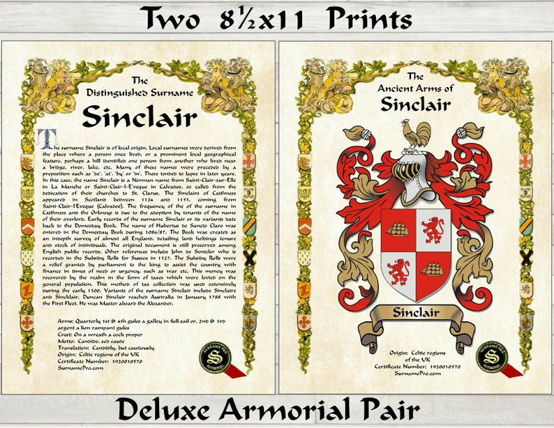 Deluxe 2 page - surname history on one page and a large family crest coat  of arms on the other  Crest description and certificarte number