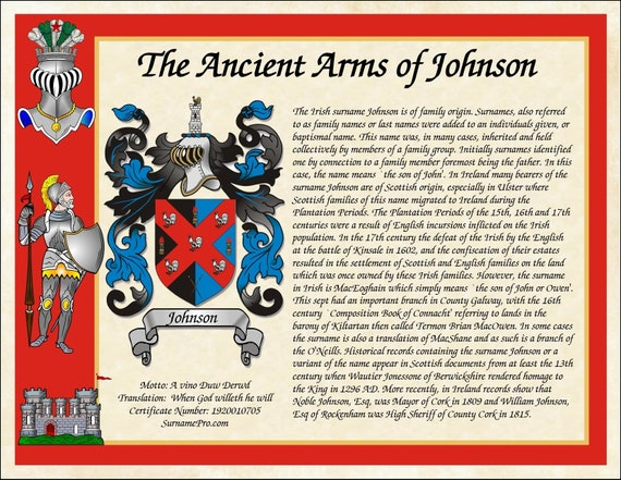 Family crest coat of arms with standard name origin history includes family  name motto with translation custom print name meaning origin