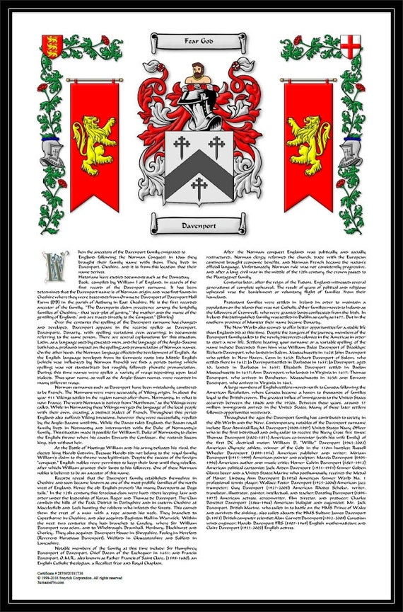 Premium Coat Of Arms Family Crest And Surname History With Etsy