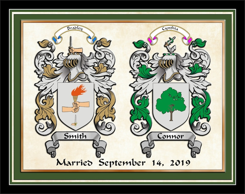 Anniversary - Wedding gift ideas, two custom family coat of arms  personalized bridal wedding gift unique family crest one-of-a-kind