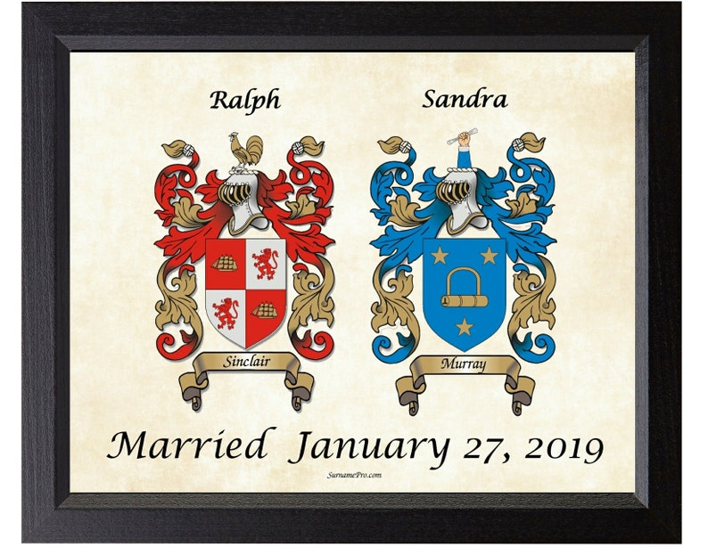 Wedding - Anniversary gift ideas, two custom family coat of arms  personalized bridal wedding gift unique family crest one-of-a-kind