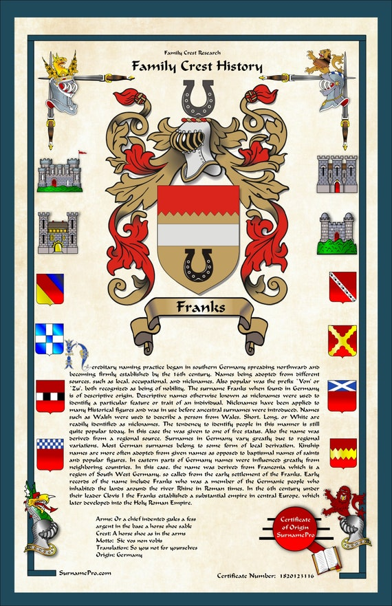SurnamePro family crest history custom coat of arms design including family  motto and translation with history of surname, meaning, origin