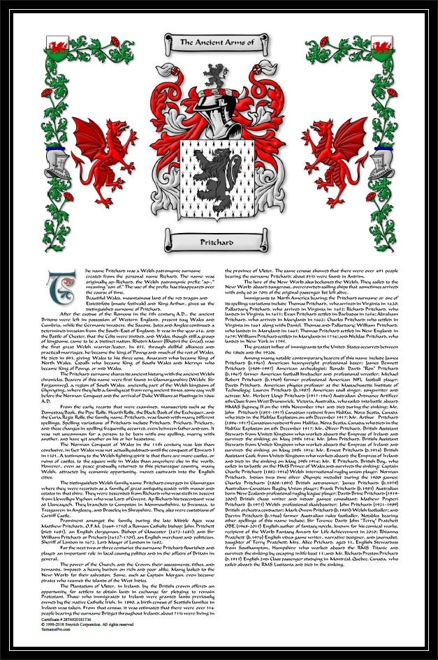Premium Coat Of Arms Family Crest And Surname History With Last Name