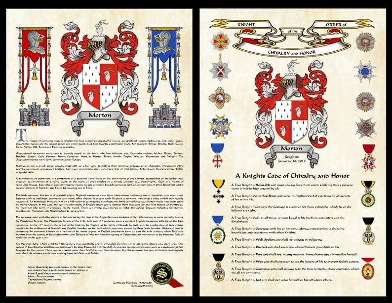 Expanded surname history with family crest and honorary Knighthood  This is  an 11X17 pair (2 prints)  Blazon of arms and certificate number