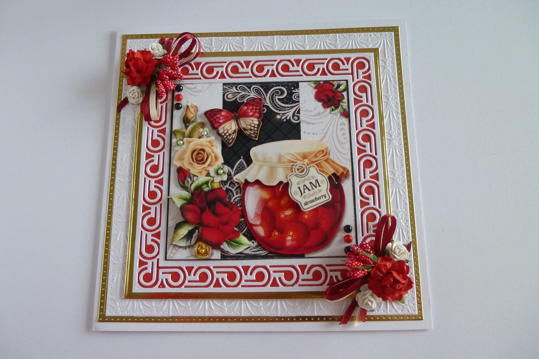 Birthday Card Ladies 3 D DecoupageRoses Jar Of JamAnd