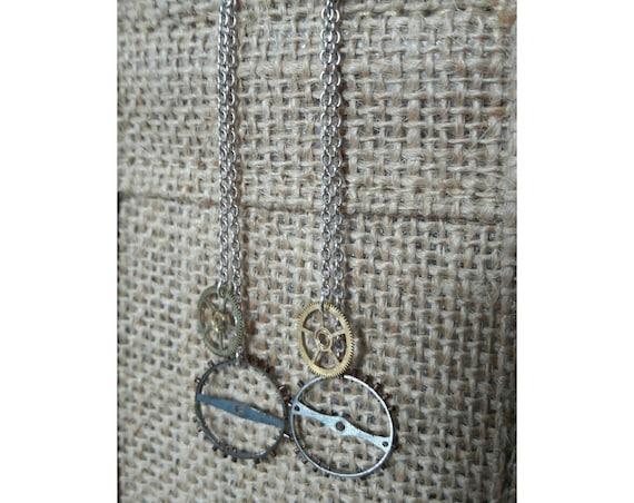 Dangling earrings in 925 sterling silver and brass