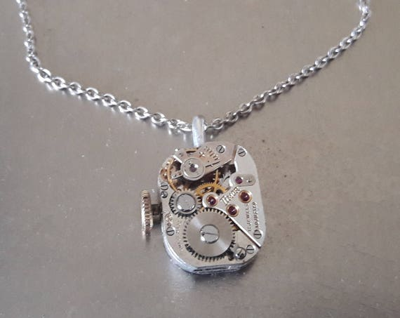 Silver color watch mechanism necklace