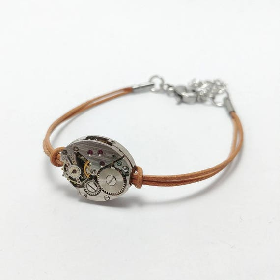Women bracelet brown leather with antique mechanical watch movement