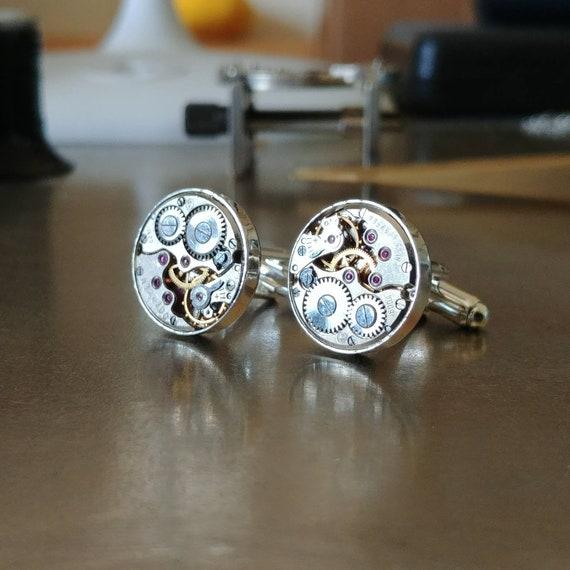 Silver watch cuff links