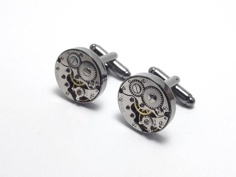 Charcoal round mechanical watch movement cuff links image 0