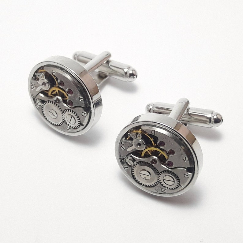 Round mechanical watch movement cuff links image 0