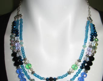 Glass Bead Necklace in Blues, Greens, Black and Silver