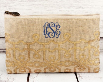 Cosmetic Bag, Monogrammed Makeup Bag, Monogrammed Clutch, Monogrammed gift, Personalized Bag, Bridesmaid Gift
