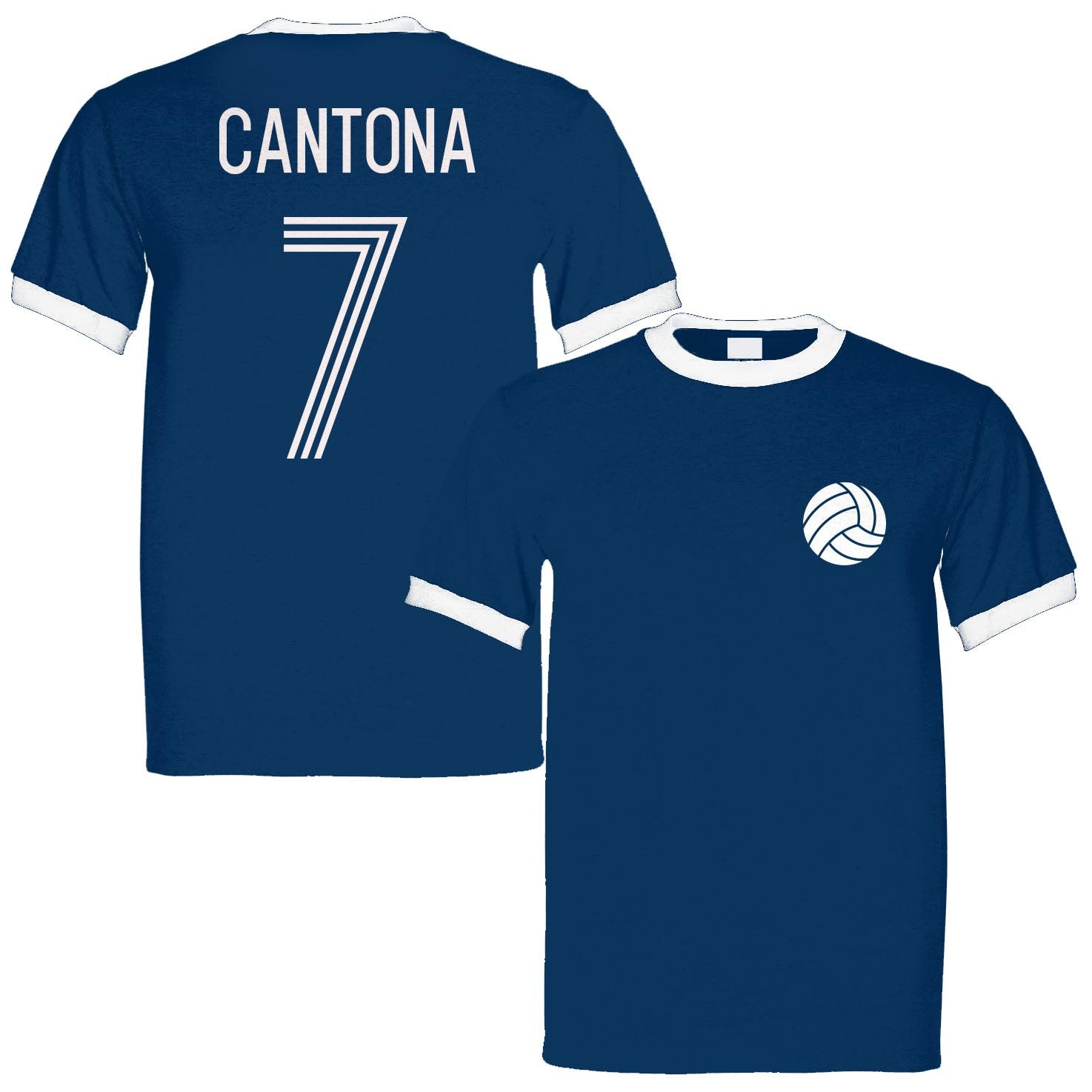 Eric Cantona 7 France Legend Ringer Retro T-shirt Navywhite Unisex Tshirt
