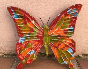 French BUTTERFLY WALL DECORATIVE provence moustier handmade