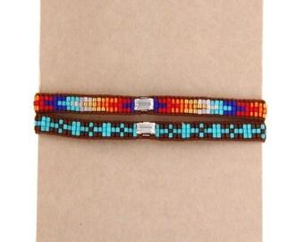 Bracelet indien boheme bobo turquoise et arc en ciel cuir marron strass