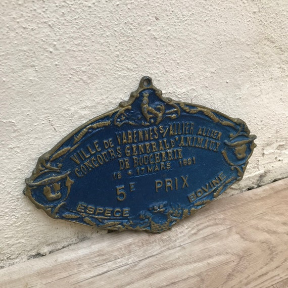 Vintage French agricultural animal show plant produce livestock metal prize trophy plaque agriculture prize circa 1960-80/'s  English Shop