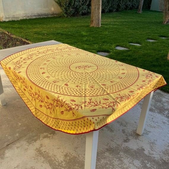 French Provencal Tablecloth oliv yellow france rou
