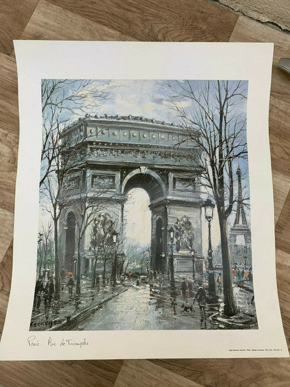 Vintage French Poster PARIS Arc de triomphe 150719