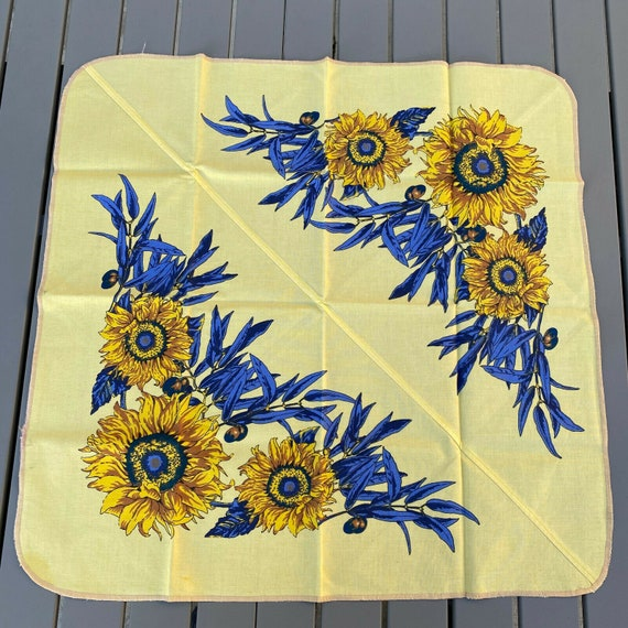 French Provencal Tablecloth sunflowers yellow fran