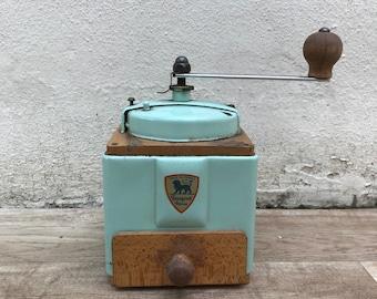 VINTAGE FRENCH PEUGEOT freres coffee grinder blue green metal 14061811