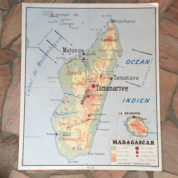 Französische Alte Schule Plakat Karte Frankreich Madagaskar Etsy