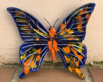 French BUTTERFLY WALL DECORATIVE provence moustier handmade 2