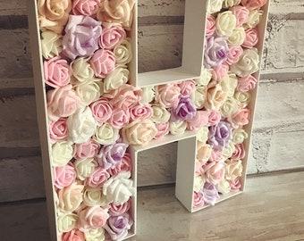 3D Wooden Flower Letter   Shabby Chic   Girls Room   Nursery   Baby Gift   Wedding Decor
